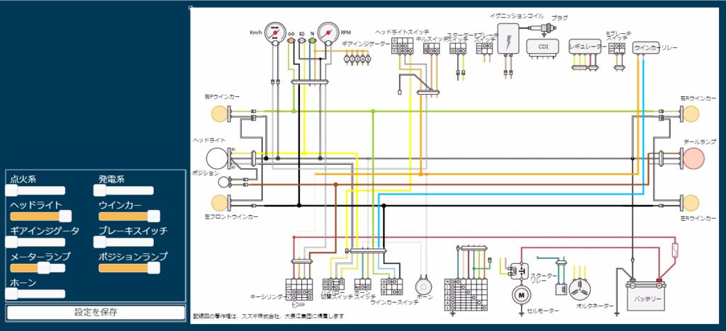 GN125 配線図を見やすくするwebアプリを再アップしました