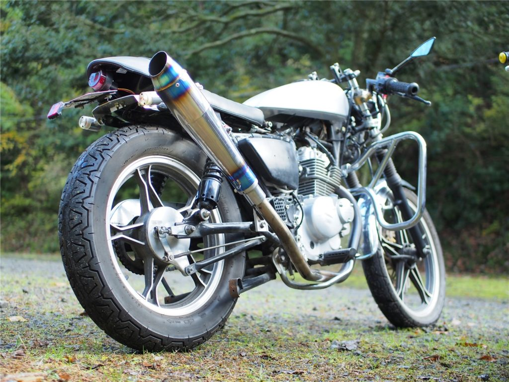 GN125 caferacer rear view