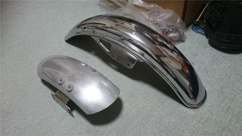【GN125 カスタム】アルミフロントフェンダーに交換する1