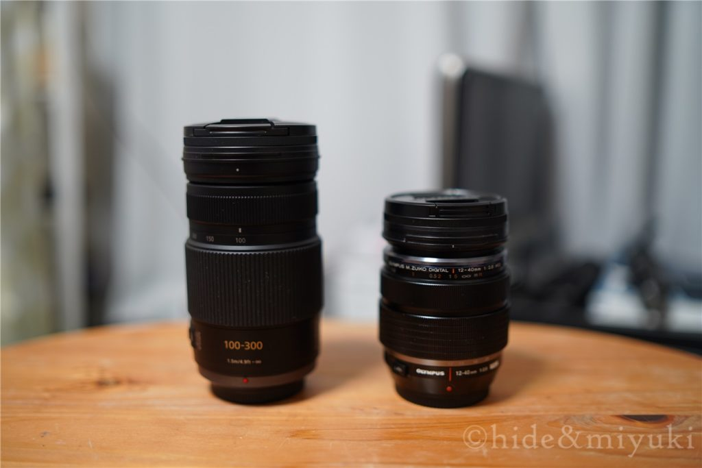 Panasonic LUMIX G VARIO 100-300mm F4.0-5.6 と M.ZUIKO 12-40mm F2.8 の高さ比較1